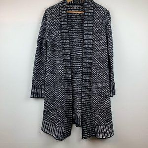 Neiman Marcus Black & White Knit Cardigan Duster S